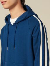 Felpa Con Cappuccio Decorata A Righe : Collezione Inverno colore Blu