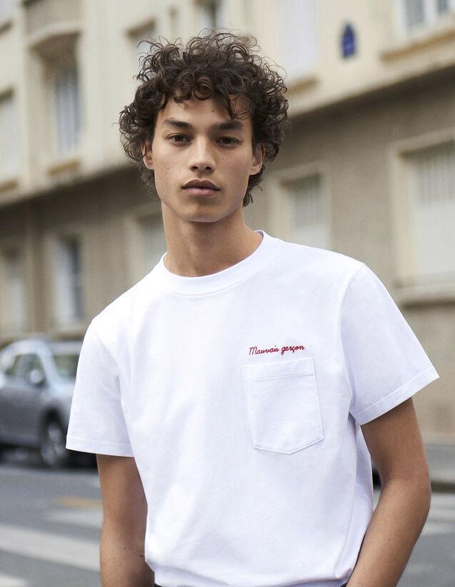 T-Shirt Con Scritta In Cotone : Collezione Inverno colore Bianco