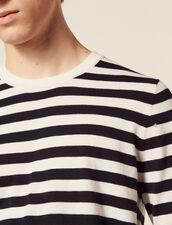 Pullover Marinière In Cotone E Cashmere : Sélection Last Chance colore Ecru