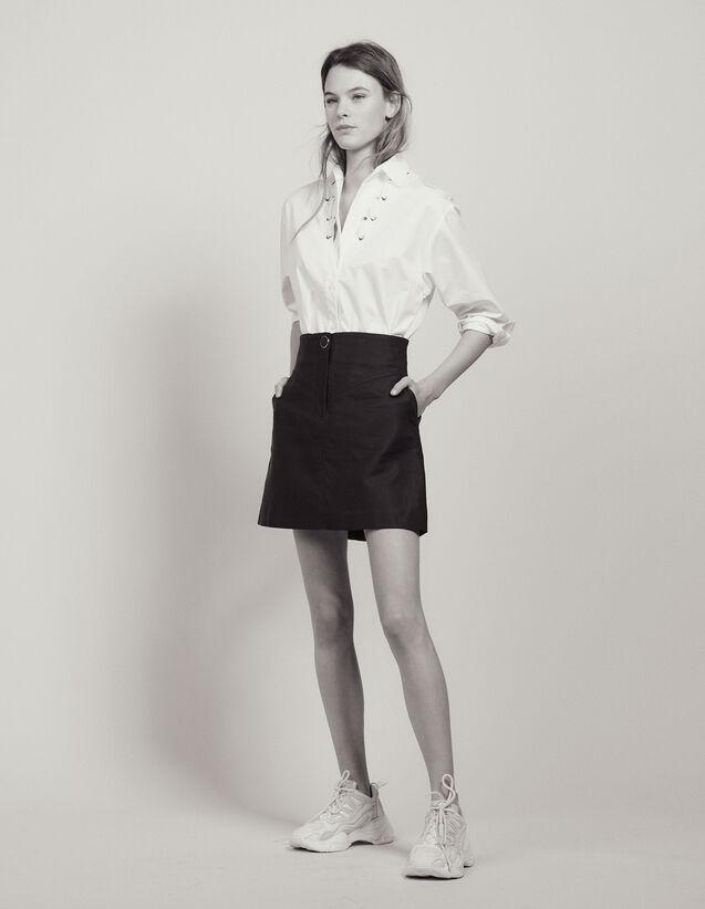 Jupe Trapèze Avec Un Bouton Bijou : Jupes & Shorts couleur Marine