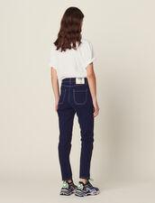 Jeans Con Cuciture A Contrasto : null colore Blu Marino