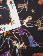 Foulard In Seta Con Stampa Stivali : Sciarpe colore Nero