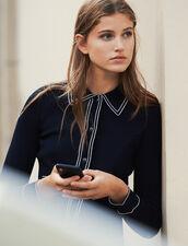 Cardigan corto effetto camicia : Maglieria & Cardigan colore Blu Marino