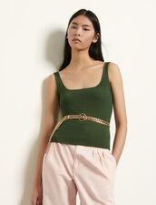 Canotta corta in maglia a coste : Top & Camicie colore Cachi