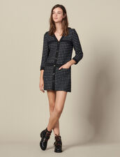 Robe manteau courte en tweed : Robes couleur Marine