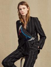 Giacca Blazer Coordinata A Righe : LastChance-FR-FSelection colore Nero
