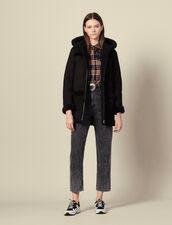 Cappotto lungo in montone con cappuccio : Cappotti colore Nero