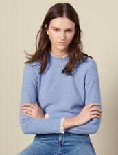 Pullover in maglia pointelle con pizzo : LastChance-ES-F50 colore Ciel