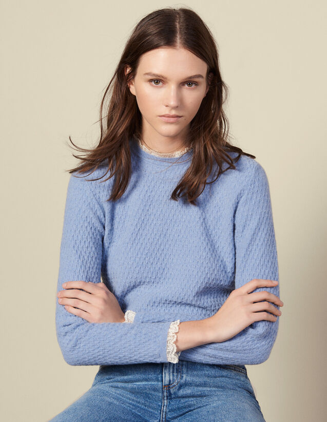 Pullover in maglia pointelle con pizzo : Maglieria & Cardigan colore Ciel