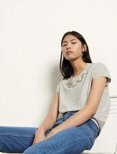 T-shirt senza maniche con strass : Magliette colore Grigio