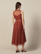 Robe Longue En Tulle Brodé : Robes couleur Rouille