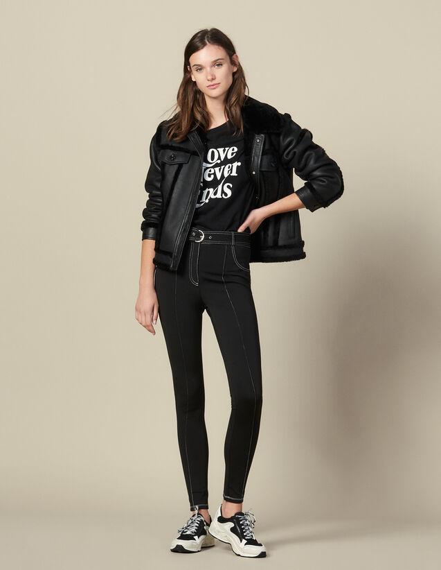 Legging À Surpiqures Contrastantes : Pantalons couleur Noir
