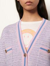 Cardigan corto effetto tweed : Maglieria & Cardigan colore Bleu/Rose