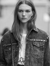 Veste En Jean Neige Ornée De Studs : Blousons & Vestes couleur Noir