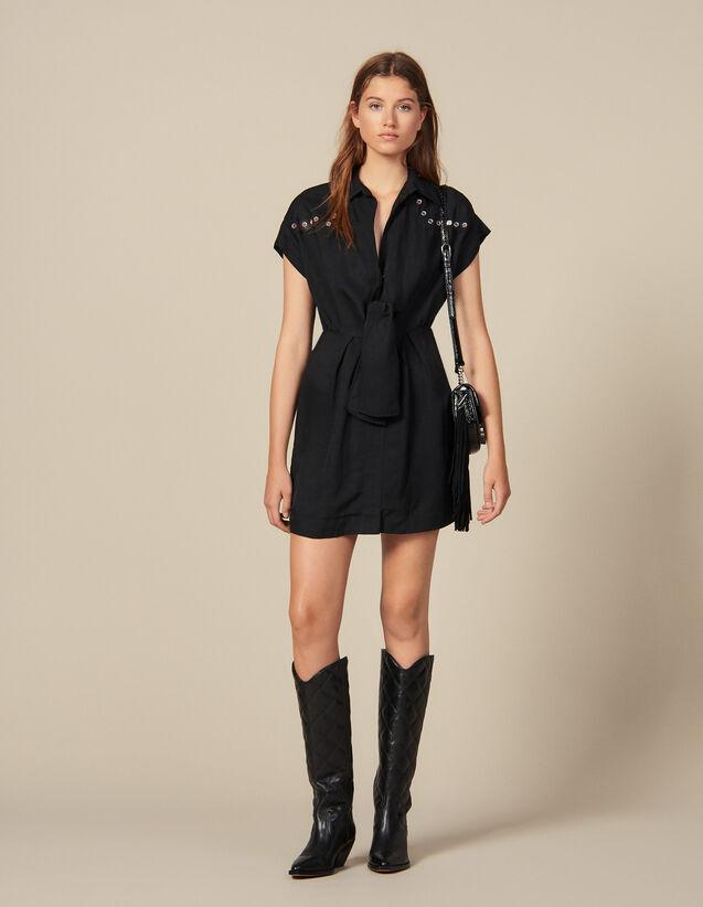 Robe Chemise Ornée De Studs Colorés : FNouveautés-Master couleur Noir