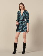 Robe En Tulle Brodée De Sequins : FTout-le-PAP couleur Noir/turquoise