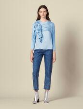 Top a maniche lunghe plissettate : Top & Camicie colore Ciel