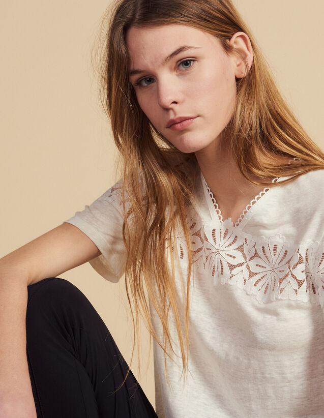 T-Shirt In Lino Con Pizzo : Magliette colore Ecru