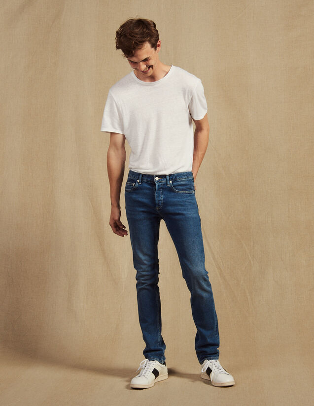 Jean délavé - Coupe slim : Jeans couleur Blue Vintage - Denim