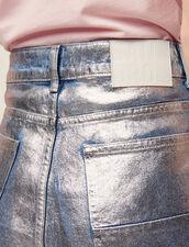 Jean Évasé Taille Haute Enduit : null couleur Argent