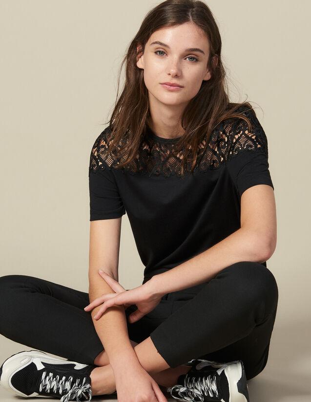 T-Shirt Con Inserto In Guipure : Magliette colore Nero