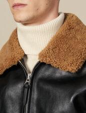 Flight jacket in pelle collo in montone : Giubbotti & Giacche colore Nero