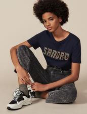 T-shirt con scritta ornata da borchie : Magliette colore Blu Marino