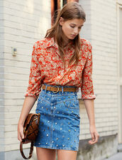 Chemise En Soie Imprimée : Tops & Chemises couleur Rouge