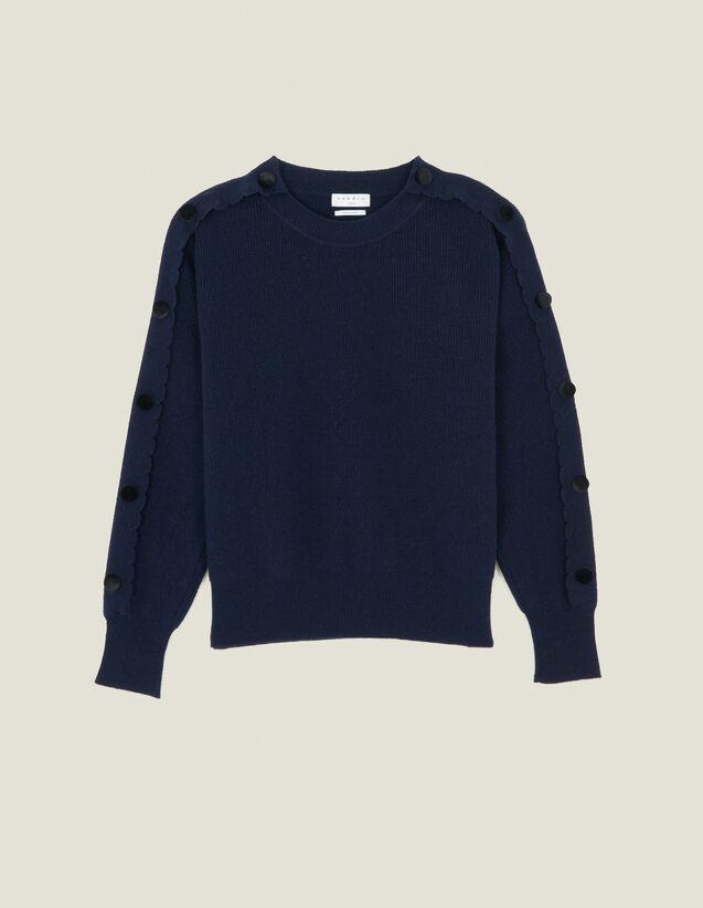 Pull Orné De Boutons Aux Manches : Pulls & Cardigans couleur Marine