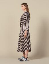 Robe longue à jeux de rayures : FBlackFriday-FR-FSelection-50 couleur Beige / Bleu
