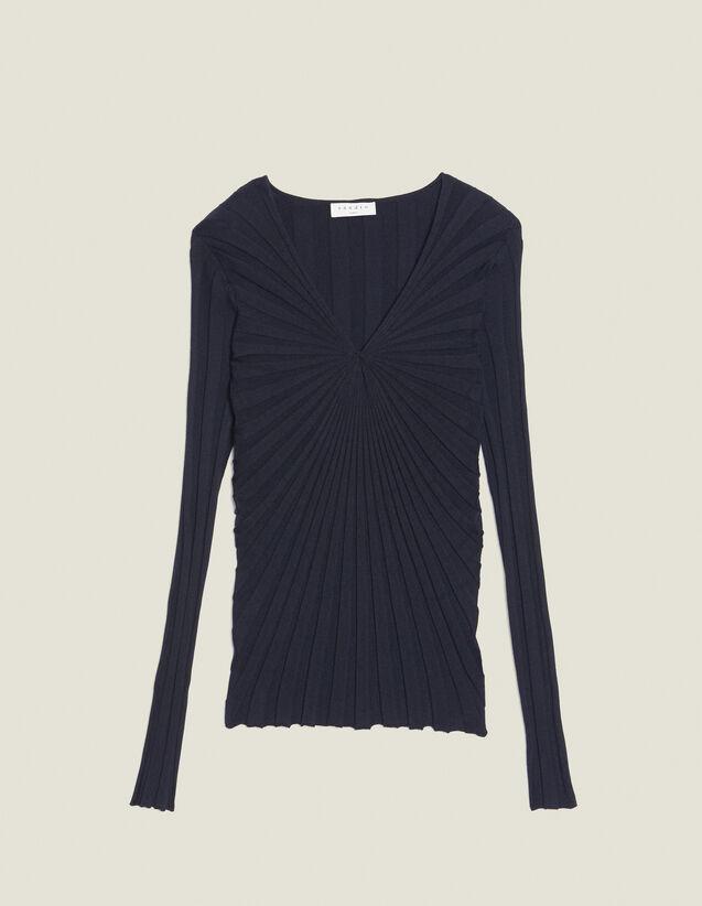 Pullover A Maniche Lunghe In Cotone : Maglieria & Cardigan colore Blu Marino