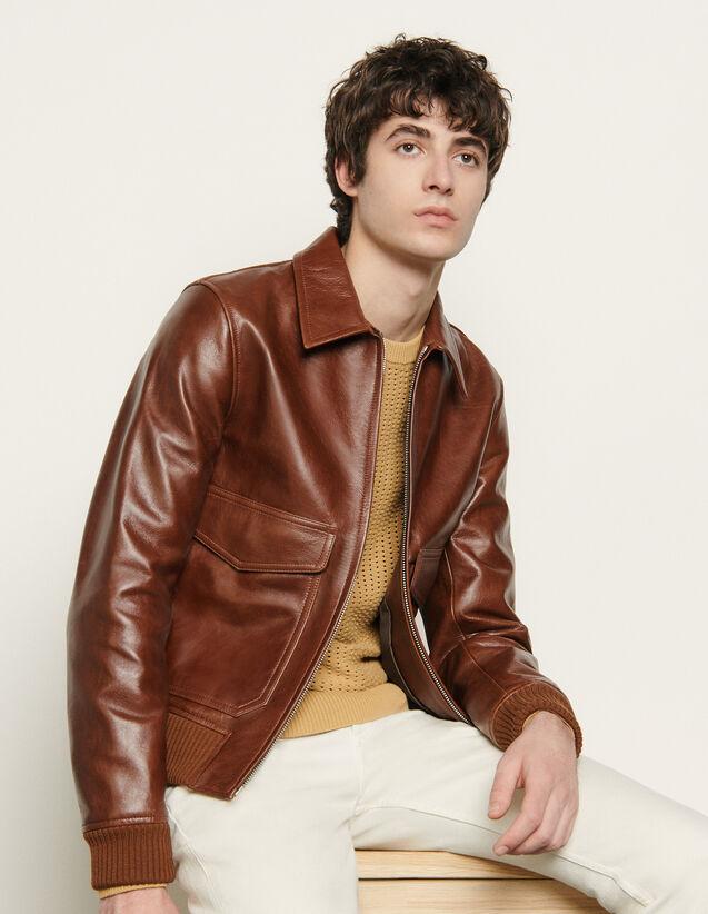 Blouson en cuir : Blousons & Vestes couleur Marron