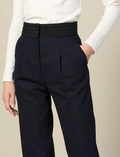 Pantaloni dritti con cintura da smoking : Pantaloni colore Blu Marino