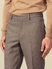 Pantalon de costume à petits carreaux : LastChance-IT-H50 couleur Camel