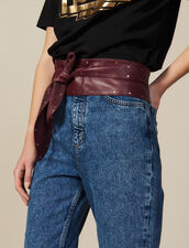 Cintura In Pelle Liscia Da Annodare : Cinture colore Bordeaux