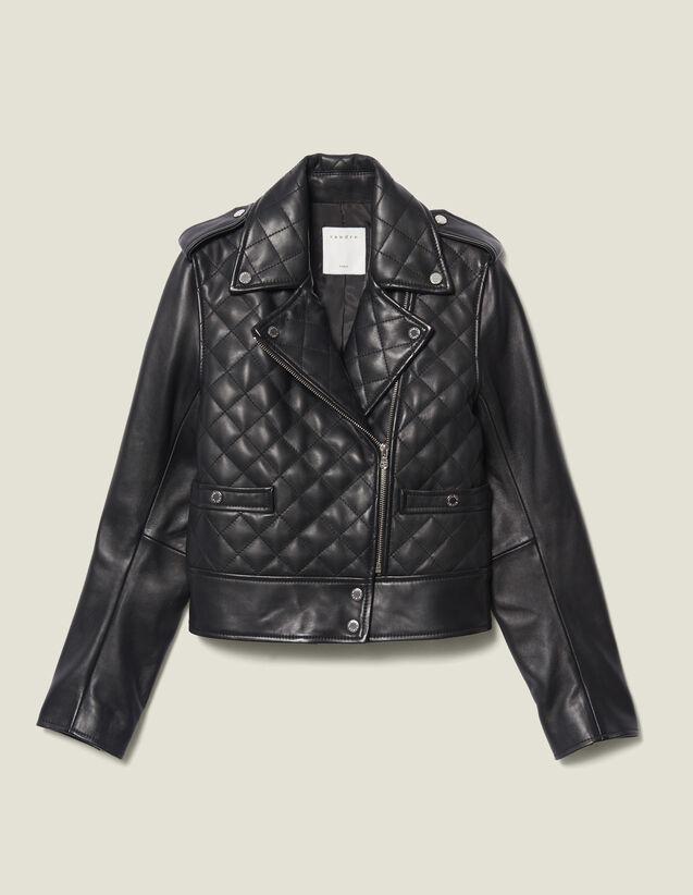 Blouson En Cuir Matellassé : Blousons & Vestes couleur Noir