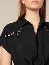 Abito a camicia con borchie colorate : Abiti colore Nero