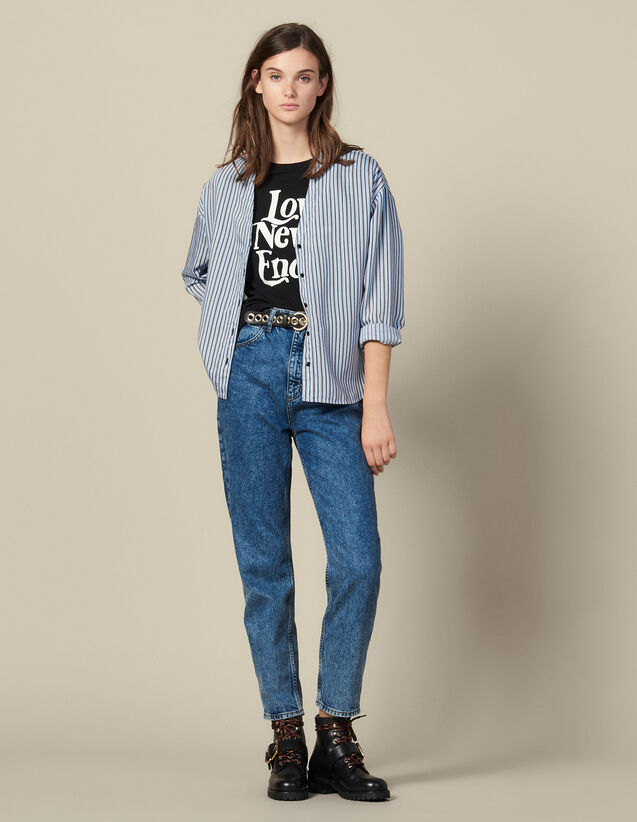 Camicia in popeline a righe : FBlackFriday-FR-FSelection-50 colore Ciel