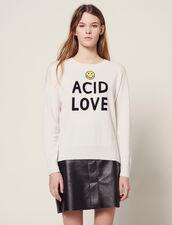 Pullover Con Scritte A Contrasto : Maglieria & Cardigan colore Ecru