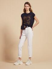 T-Shirt In Cotone Con Scritte : null colore Blu Marino