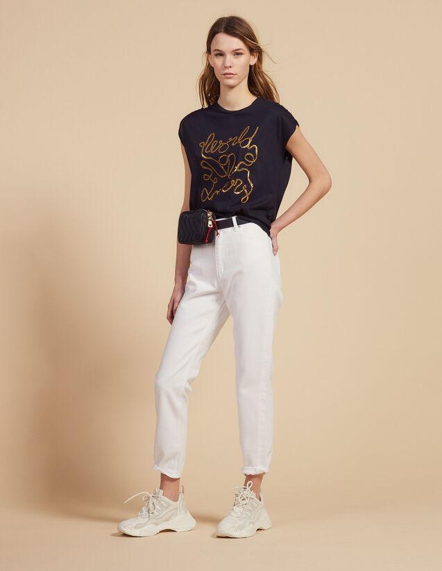 T-Shirt In Cotone Con Scritte : Magliette colore Blu Marino