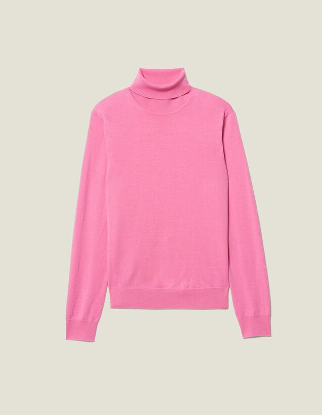 Pullover A Collo Alto In Lana : Maglioni & Cardigan colore Rosa
