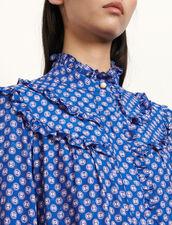 Abito corto stampato a maniche lunghe : Abiti colore Blu