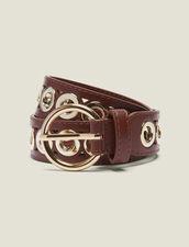 Cintura Con Fibbia Tonda E Occhielli : Collezione Estiva colore Cammello