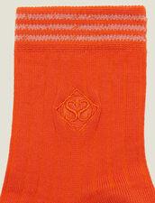 Calzini In Cotone Con Ricamo : null colore Arancio Vermiglio