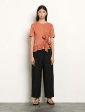 T-shirt con laccio da annodare : Magliette colore Terracotta