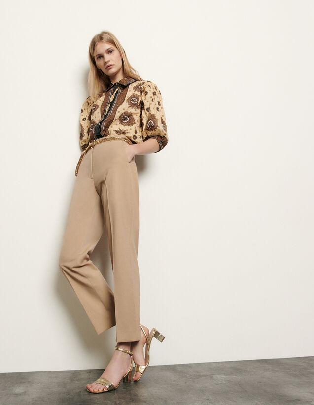 Pantaloni da tailleur linea dritta : Pantaloni colore Beige