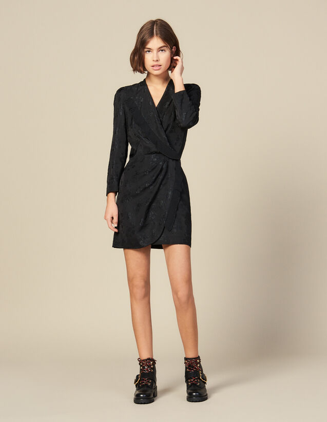 Robe courte portefeuille en jacquard : Robes couleur Noir