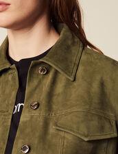 Giacca Stile Camicia In Pelle : Giacche & Giubbotti colore Cachi