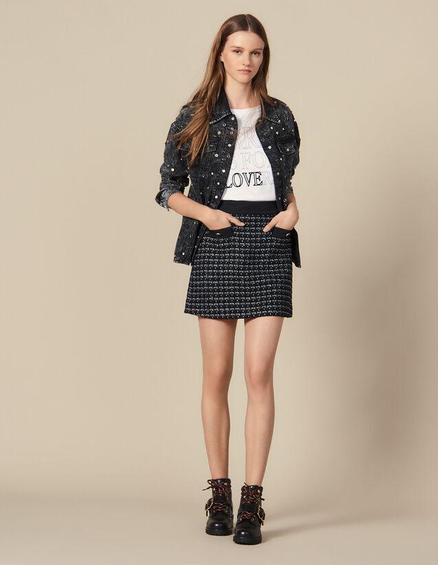 Gonna Corta A Trapezio In Tweed : Gonne & Short colore Blu Marino